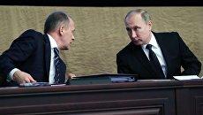 Президент РФ Владимир Путин и директор Федеральной службы безопасности Александр Бортников. Архивное фото