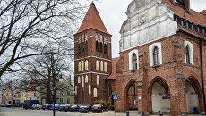 Рыцарский замок XIV века в городе Пасленк Варминьско-Мазурского воеводства Польши. Архивное фото