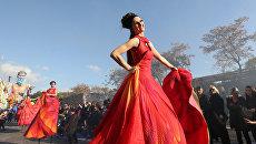 Выступление артистов во время карнавала в Ницце, Франция