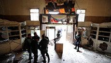 Место взрыва в Дворце правосудия в Дамаске