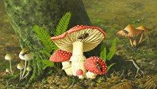 Так художник представил себе грибы эпохи динозавров и поедавших их насекомых