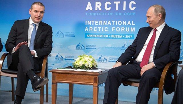 Президент РФ Владимир Путин и президент Исландии Гудни Йоханнессон во время встречи в Архангельске. 30 марта 2017