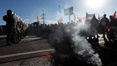 24-часовая национальная забастовка против политики президента в Буэнос-Айресе