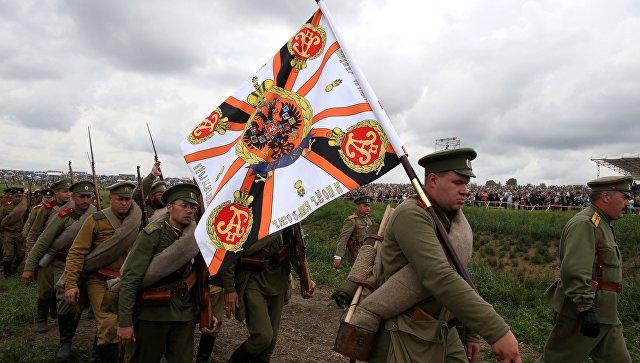 Участники исторической реконструкции Гумбинненское сражение. Архивное фото