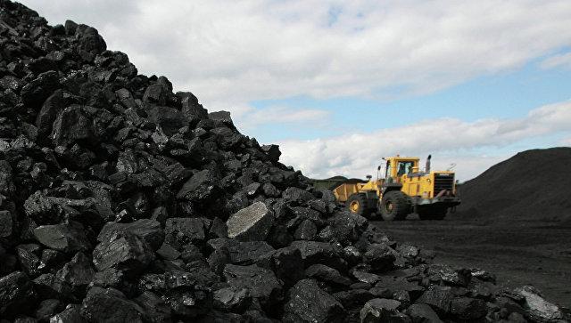 Сортированный уголь на складе обогатительной фабрики. Архивное фото