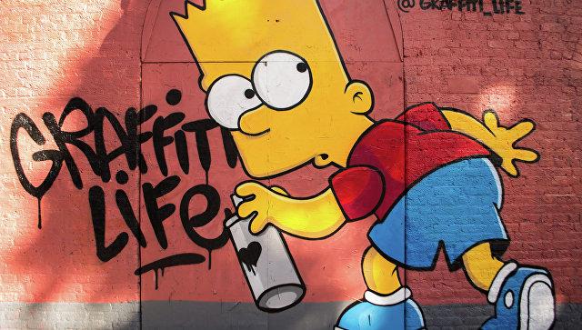 Граффити с Бартом Симпсоном из мультсериала The Simpsons