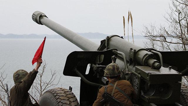 Артиллерия КНДР во время учений