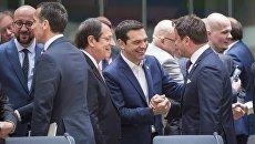 Премьер Греции Алексис Ципрас на саммите в Брюсселе
