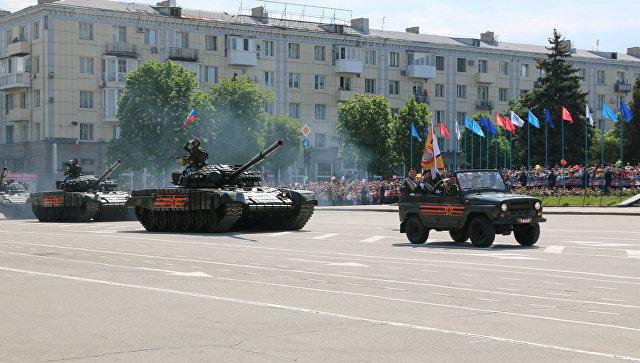Всамопровозглашенной ЛНР прошла репетиция парада 9мая