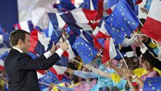 Кандидат в президенты Франции, лидер движения En Marche Эммануэль Макрон в Париже. 1 мая 2017 года