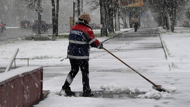 Сотрудница ГБУ Гормост убирает снег на Ленинском проспекте в Москве