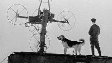 Полярник с собакой стоит у радиоантенны в Антарктиде