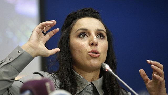 Украинская певица Джамала во время пресс-конференции в Киеве. Архивное фото
