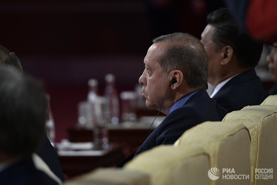 Президент Турции Реджеп Тайип Эрдоган на церемонии открытия Международного форума Один пояс, один путь. 14 мая 2017