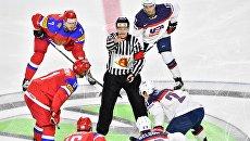 Перед началом матча группового этапа чемпионата мира по хоккею 2017 между сборными командами России и США