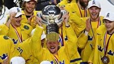 Сборная Швеции празднует победу на ЧМ-2017, 22 мая