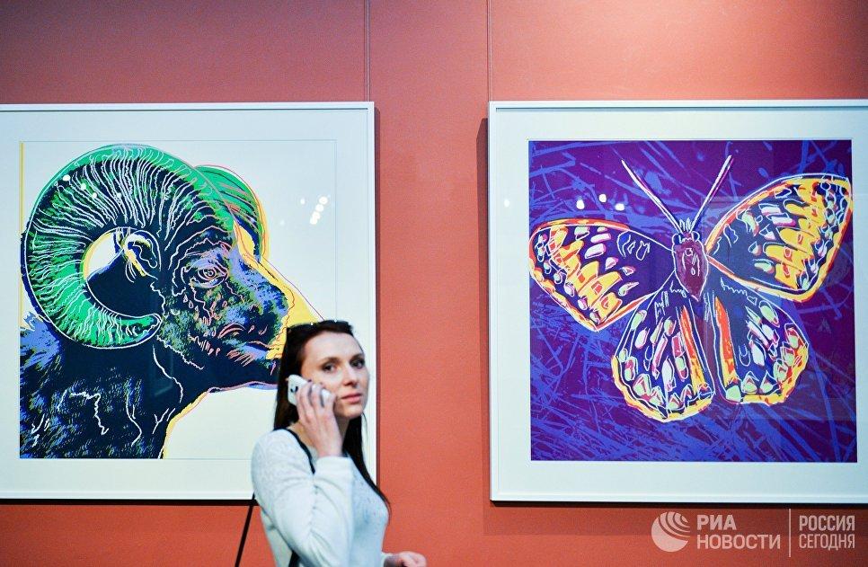 Посетительница на выставке Энди Уорхолла в Дарвиновском музее во время международной акции Ночь музеев