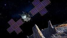 Зонд Psyche над поверхностью астероида Психея в представлении художника