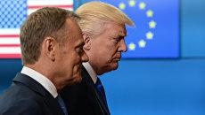 Президент США Дональд Трамп и председатель Европейского совета Дональд Туск перед началом встречи в Брюсселе. 25 мая 2017