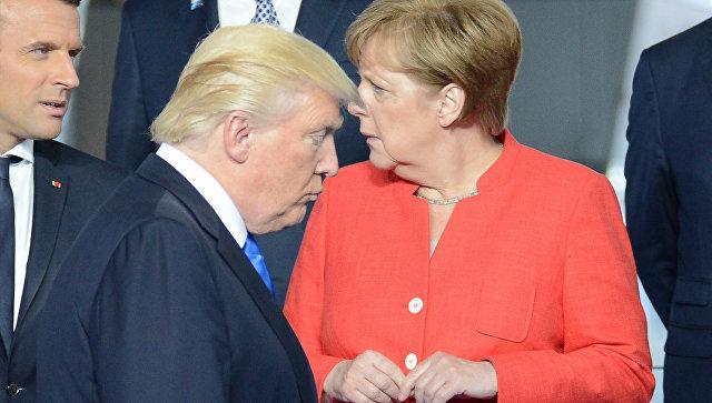 Эммануэль Макрон, Дональд Трамп и Ангела Меркель. Архивное фото