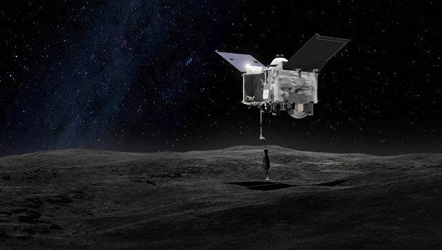 Иллюстрация художника, на которой изображена межпланетная станция OSIRIS-REx, предназначенная для доставки образцов грунта с астероида (101955) Бенну. Запуск станции состоялся 8 сентября 2016 года. Достижение астероида и забор грунта состоится в 2019 году, а возвращение на Землю — в 2023 году.