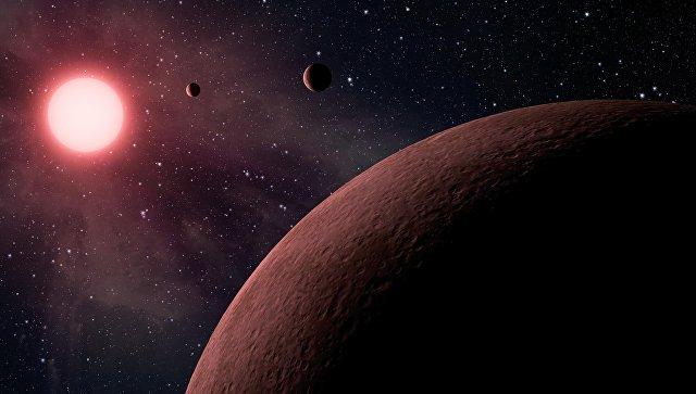Землеподобная планета у красного карлика в представлении художника
