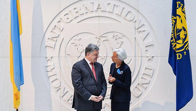 Президент Украины Петр Порошенко и глава МВФ Кристин Лагард во время встречи.