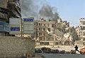 Обстрел боевиками одного из районов города Алеппо. Сирия, 14.04.2016