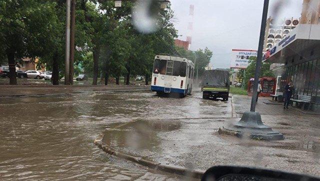 Сильный ливень затопил улицы Браслава