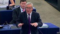 Президент Еврокомиссии Жан-Клод Юнкер выступает в Европейском парламенте в Страсбурге, Франция. 4 июля 2017