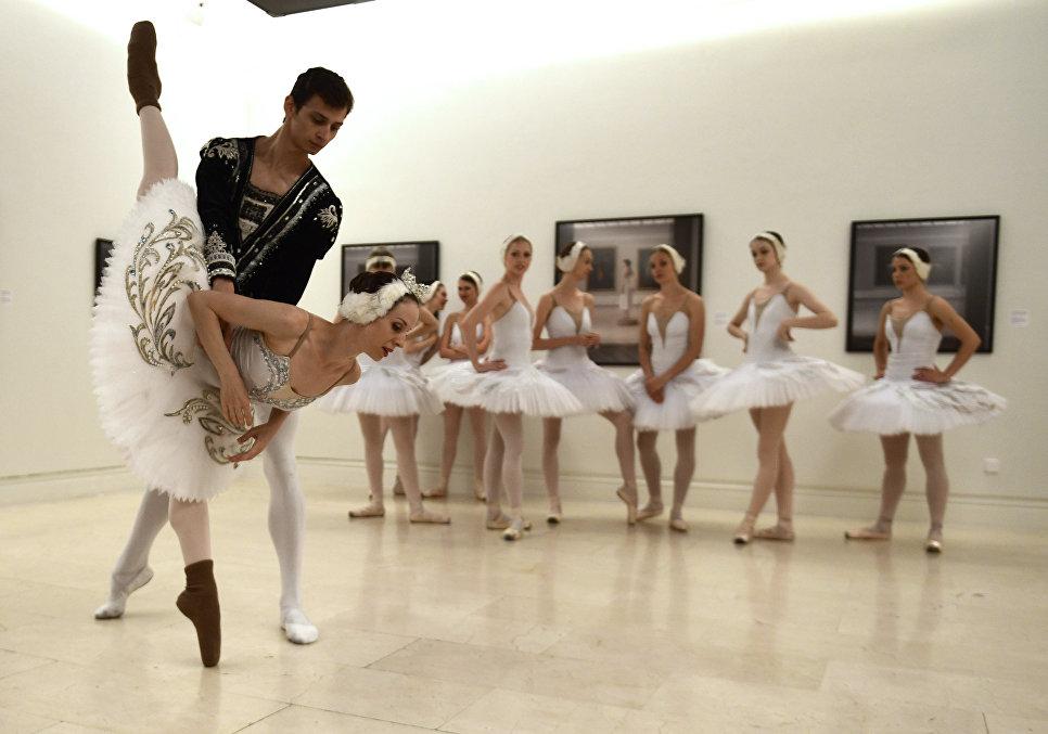 Танцовщица Санкт-Петербургского балета во время разминки перед выступлением в балете Лебединое озеро в Музее изобразительных искусств в Мадриде