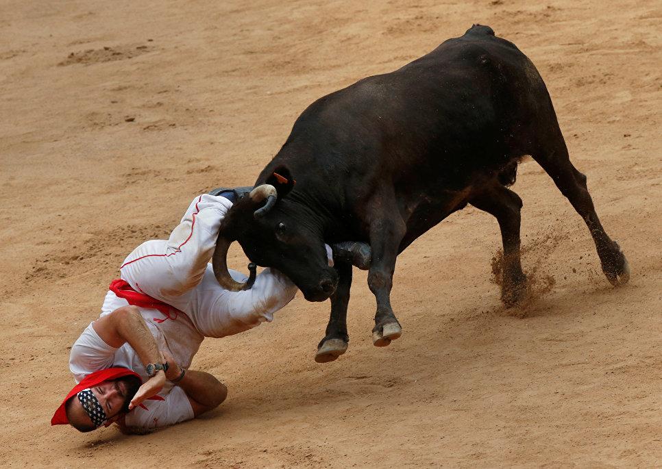 Участник фестиваля Сен-Фермин по время сражения с диким быком в Памплоне