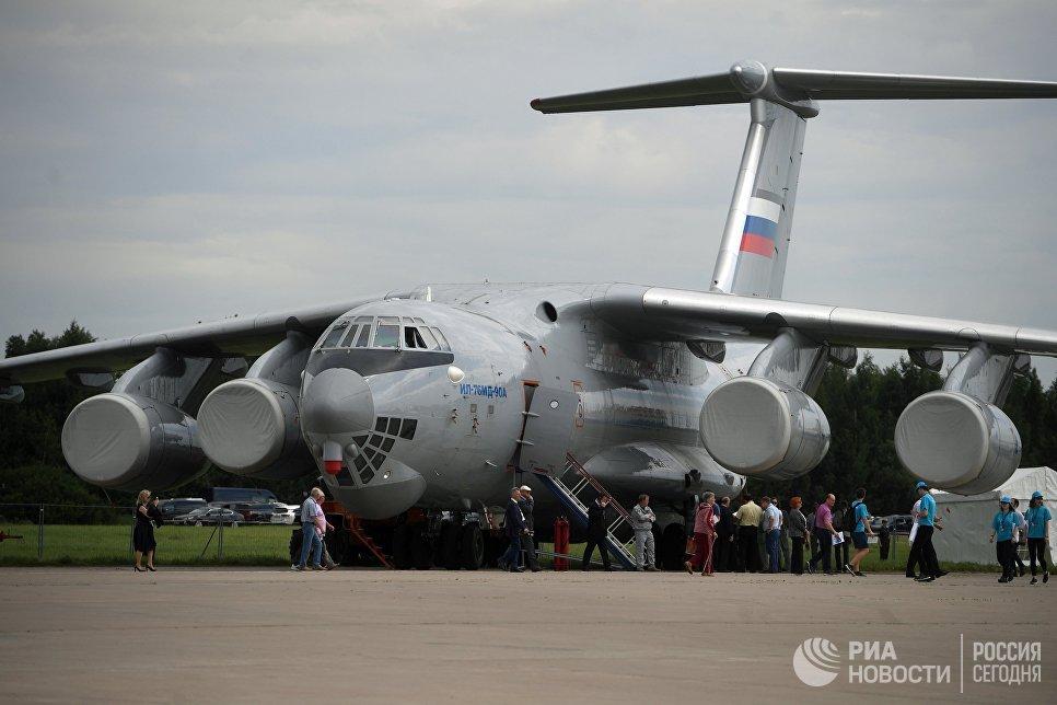 Самолет ИЛ-76 МД на Международном авиационно-космическом салоне МАКС-2017 в Жуковском.