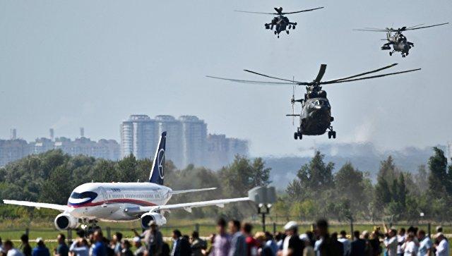 Вертолеты Ми-28H Ночной охотник, Ми-26 и Ми-35 на Международном авиационно-космическом салоне МАКС-2017