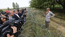 Президент Украины Петр Порошенко на грузино-югоосетинской границе