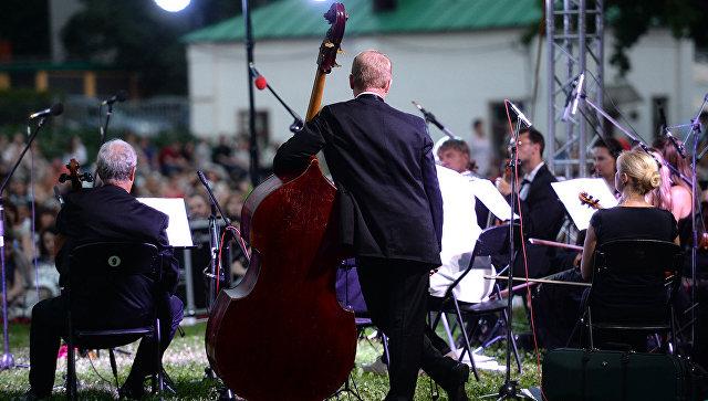 Музыканты во время выступления в Ботаническом саду МГУ Аптекарский огород в Москве. Архивное фото