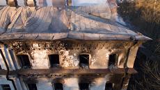 Здание зимней гостиницы на острове Валаам после пожара