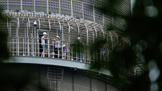 Люди на открытой смотровой площадке на Останкинской телебашне. Архивное фото