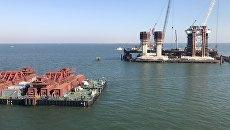 В Керченском проливе испытали плавучую систему  для перевозки арок моста в Крым