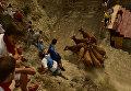Жители деревни во время традиционного пробега быков на севере Испании