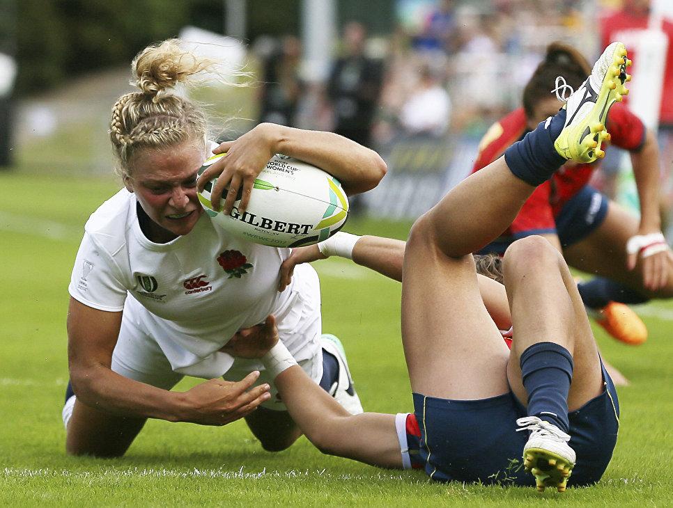 Матч Англия - Испания во время Женского Кубка Мира-2017 по регби. 9 августа 2017