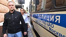 Координатор Левого фронта Сергей Удальцов после пресс-конференции в Москве