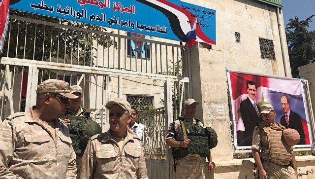 Мемориальный камень погибшим русским исирийским военным поставили вАлеппо