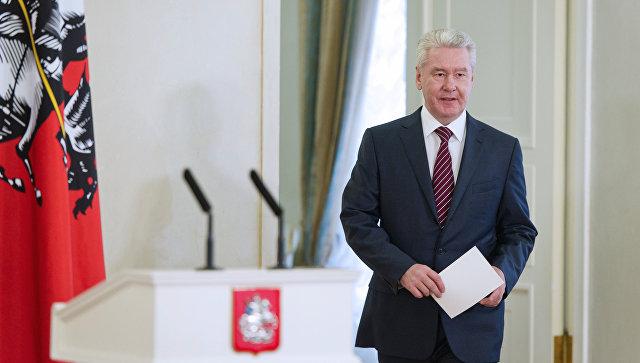 Сергей Собянин в Белом зале Мэрии Москвы