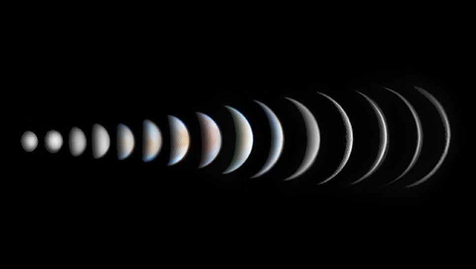 Снимок фотографа Роджера Хатчинсона из Великобритании Venus Phase Evolution, победивший в категории Планеты, кометы и астероиды в фотоконкурсе Insight Astronomy Photographer of the Year 2017