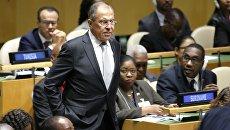 Глава МИД РФ Сергей Лавров на на заседании Генеральной Ассамблеи ООН в Нью-Йорке