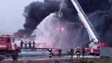Тушение пожара на территории ПАО Лукойл Нижегороднефтеоргсинтез в Нижегородской области. 5 октября 2017