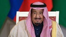 Король Саудовской Аравии Сальман Бен Абдель Азиз Аль Сауд во время пресс-конференции после российско-саудовских переговоров. 5 октября 2017
