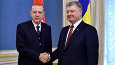 Президент Турции Реджеп Тайип Эрдоган и президент Украины Петр Порошенко во время встречи в Киеве. 9 октября 2017