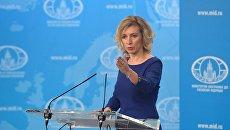Официальный представитель МИД России Мария Захарова во время брифинга в Москве. Архивное фото